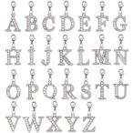 アルファベットチャーム ラインストーンチャーム PE163 (A〜Z) ニッケル 1個入り (カニカンC25付)【ゆうパケット対応】