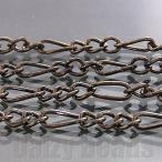 アクセサリー パーツ 『4パック分おまとめセット』「チェーン パーツ 金具」 「ガンメタル」 約3x7mm+2.5x4mm 太さ0.6mm 長さ1m