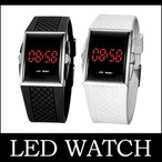 Yahoo!DaMiウォッチベルト デジタル デジタル時計 蛍光 LED スポーティー ベルト 調節可能 多機能 メンズ レディース 男女兼用 ラウンド ブラッ