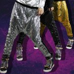 2枚送料無料!JAZZジャッズ キッズダンス衣装 男女兼用ダンスウェア サルエルパンツ ヒップホップボトムス ピカピカ 子供 スパンコール 舞台演出服