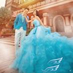 ショッピングプリンセス レディースウエディングドレス☆パーティードレス☆花びらプリンセスライン☆ドレス 写真撮影 メンズスーツセット 男女セット 結婚式