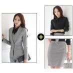 二点送料無料j女性用パンツスーツ、スカートスーツ 通勤+ワイシャツ3点セット フォーマル ビジネス ...