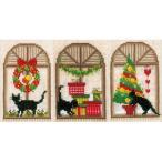 ベルバコ クロスステッチ 刺繍キット 【クリスマスカード 猫 】クリスマス ベルギー 輸入ししゅうキット