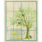 フレメ クロスステッチ 刺繍キット 【窓辺のカナリヤ】鳥と動物 デンマーク 輸入ししゅうキット