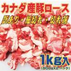 猪肉 - カナダ産豚ロース細切れ・切れ端・訳あり500gX2袋入 半冷凍・完全冷凍を選んだ場合完全に凍結していない場合があります