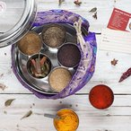 Indian Spices Gift Tin with handmade sari wrap, a wonderful gift handmade