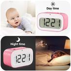 Jueven 電子時計ベッドヘッドライト光る時計学生時計子供の創造的な表現かわいいミュート小さな目覚まし時計