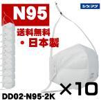 日本製 N95マスク 10個 シゲマツ 二つ折り 重松製作所 DD02-N95-2K 防じんマスク