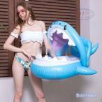 うきわ 水遊び プール 子供 赤ちゃん お風呂 浮き輪 用 屋根付き浮き輪 サメ柄 ベビーボート 足入れ 浮き輪 座付き ベビー用 子供用 うきわ キッズ フロート