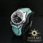 牛革ベルト×スティングレイ エメラルドフラット加工エイ皮 レザーブレスレットウォッチ ブラック 腕時計 メンズ 本