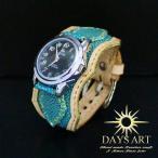 牛革ベルト×スティングレイ エメラルドフラット加工エイ皮 レザーブレスレットウォッチ ナチュラル 腕時計 メンズ