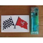 【メール便発送可】マン島ステッカー Isle of Man & Crossed Chequered Flag Sticker 75mm #83 英国輸入