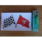 【メール便発送可】マン島ステッカー Isle of Man & Crossed Chequered Flag Sticker 103mm #84 英国輸入