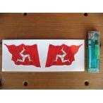 【メール便発送可】マン島ステッカー Isle of Man Wavy Flag Stickers 76mm (2枚1セット) #88 英国輸入