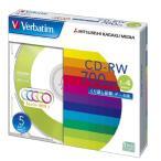 三菱ケミカルメディア Verbatim  くり返し記録用 CD-RW (レーベル5色/1-4倍速/5枚) SW80QM5V1