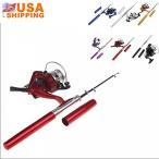 釣具 ロッド・竿 EverTrust(TM) Mini Pocket Pen Shape Aluminum Alloy Fishing Rod Portable Baitcasting Rods Pole + Fishing Reel Set Combos Pesca