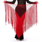 サンバ コスチューム DQdq Women's Tassel Net Belly Dance Hip Wrap Scarf 輸入品