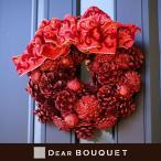 クリスマスリース (直径24cm) 赤のリボンリース 壁掛け リビング 玄関 インテリア 結婚祝い 誕生日 贈り物 プレゼント ドアリース ウェルカムリース