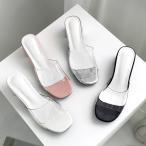 ミュールサンダル レディース PVC ローヒール 太ヒール シルバー ブラック 靴 婦人靴 黒 ピンク ホワイト