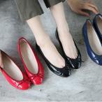 ショッピングフラット フラットシューズ パンプス リボン レディース バレエシューズ ぺたんこ ペタンコ 靴 婦人靴 黒 ブラック ネイビー レッド