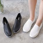 スリッポン レディース スニーカー ブラック 黒 ホワイト 白 シンプル 厚底 カジュアル 婦人靴 レディースシューズ 編み込み