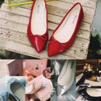 フラットシューズ パンプス リボン レディース バレエシューズ ぺたんこ ペタンコ ポインテッドトゥ 靴 婦人靴 黒 ブラック グレー レッド