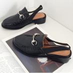 ショッピングフラット フラットサンダル レディースシューズ  ぺたんこ ローヒール  黒 ブラック ローファー 靴 歩きやすい メンズライク おじ靴