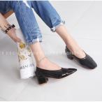 ショッピングエナメル エナメル パンプス レディース ローヒール  黒 ブラック グレーブラウン バレエシューズ 靴 太ヒール 婦人靴 歩きやすい 痛くない