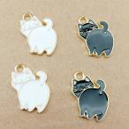 後ろを振り返るネコとパンダとブタ★かわいいアンティークチャーム ねこ 猫 エナメル
