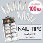 ネイルチップ(クリア) 100枚入 #0〜9サイズ つけ爪 ハーフチップ ネイルアート