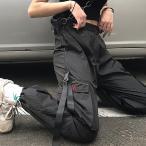 カーゴパンツ ブラック ストリート ワイド 2WAY ストレート ポリエステル カジュアル メンズ レディース ファッション ダンス ヒップホップ 衣装 原宿系 韓国系