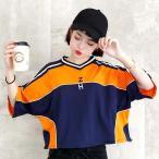 トップス カットソー Vネック スポーティ ハイウエスト レディース ファッション ダンス ヒップホップ 衣装 大きいサイズ ビッグシルエット 原宿系 韓国系