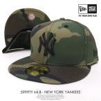 ニューエラ ベースボールキャップ メンズ 帽子 NEW ERA 59FIFTY ニューヨーク・ヤンキース ウッドランドカモ×ブラック 秋冬