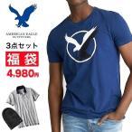 大きいサイズ メンズ 福袋 アメリカンイーグル AMERICAN EAGLE Tシャツ/ポロシャツ/小物 3点セット