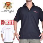 大きいサイズ メンズ エドハーディー Ed Hardy LOVE KILL 半袖 鹿の子 ポロシャツ 黒 白 ブラック ホワイト 3L 4L 5L 6L