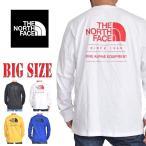 大きいサイズ メンズ ノースフェイス THE NORTH FACE バックロゴ ロンT 長袖 Tシャツ THROWBACK USAモデル 黒 白 黄 青 XL XXL [M便 1/1]