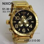ショッピングnixon 送料無料 NIXON ニクソン A083510 オールゴールド ブラック 51-30 CHRONO 並行輸入品 51-30クロノ A083-510