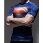 SALE-UDW-231 ラッシュガード スーパーマン 格闘技 インナー 筋トレ 半袖 Tシャツ アンダーウエア 青赤 (L)  即納