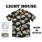 パラダイスファウンド アロハシャツ メンズ ハワイ製 灯台柄 ライトハウス 黒 Paradise Found  「Lighthouse」