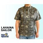 Reyn Spooner/レインスプーナー アロハシャツ ラハイナセーラー ハワイ製 ボーイズサイズ ブラックxベージュ 黒