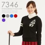 刺繍入りVネックニット レディースゴルフウェア  L LL 大きいサイズ