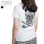襟ジャガード千鳥柄バックスカルポロシャツ 大きいサイズ M/L/LL/3L レディースゴルフウェア