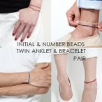 Bracelet Pair - つけっぱなし OK シンプル コード レザー ペア販売 2way アンクレット & ブレスレット  イニシャル 記念日 カップル ペア プレゼント  メンズ レディース