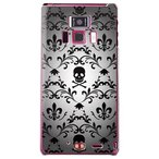 REGZA Phone T-01D/Disney Mobile F-08D カバー/ケース (百合の紋章 スカル(大)/ブラック)