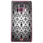 REGZA Phone T-01D/Disney Mobile F-08D カバー/ケース (百合の紋章 スカル(小)/ブラック)