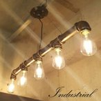 インダストリアル照明 ペンダントライト 5灯ゴールド-型番I007G-