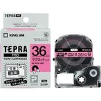 ds-1581609 (まとめ) キングジム テプラ PRO テープカートリッジ マグネットテープ 36mm ピンク/黒文字 SJ36P 1個 【×4セット】 (ds1581609)