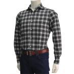 フィナモレ イタリアブランド メンズシャツ カッタウェイ ブラック&ホワイト マドラスチェック フランネル