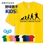 野球 Tシャツ ドライ キッズ ジュニア オリジナル 名入れ ベースボール  メンズ 男  チーム 【HOL 男子 K】
