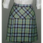 スカート 5L 21号 チェック ぽっちゃり おしゃれ グリーンタータンチェック プリーツスカート ウエスト83cm-86cm 日本製 裏地つき